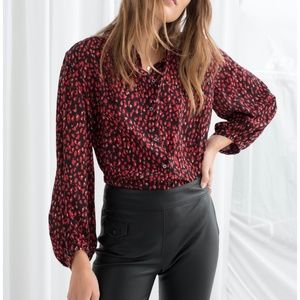 & Other Stories Silk Printed Shirt Red Size 0